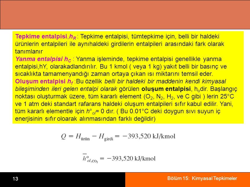 Tepkime entalpisi,hR : Tepkime entalpisi, tümtepkime için, belli bir haldeki ürünlerin entalpileri ile aynıhaldeki girdilerin entalpileri arasındaki fark olarak tanımlanır