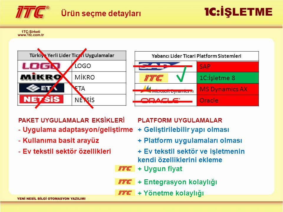 Ürün seçme detayları LOGO MİKRO ETA NETSİS SAP 1C:İşletme 8