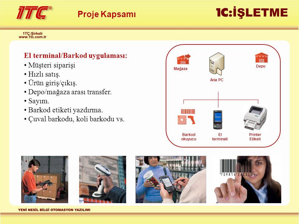 Proje Kapsamı El terminal/Barkod uygulaması: Müşteri siparişi