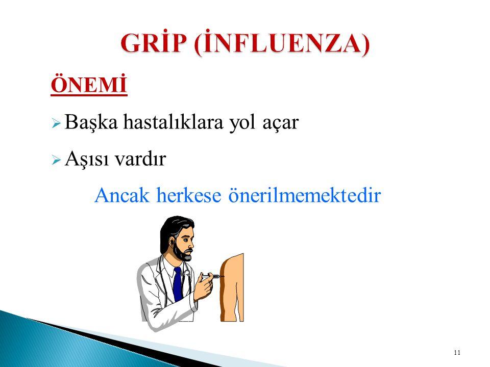 GRİP (İNFLUENZA) ÖNEMİ Başka hastalıklara yol açar Aşısı vardır