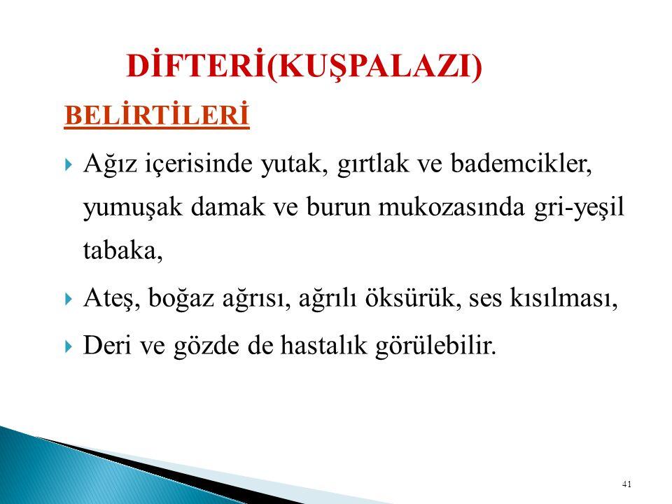 DİFTERİ(KUŞPALAZI) BELİRTİLERİ