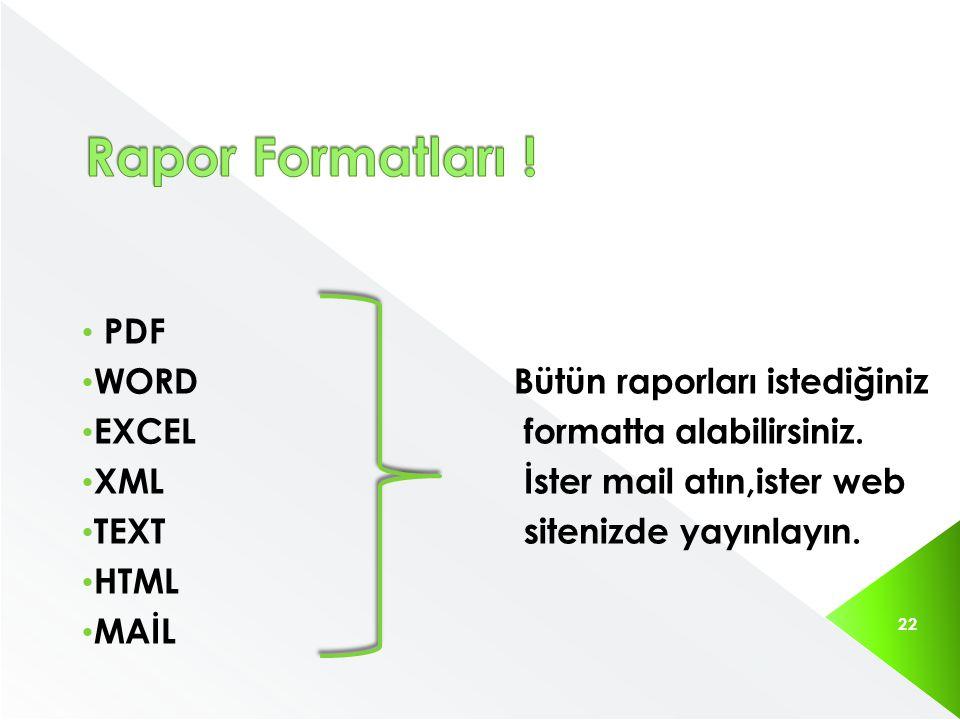 Rapor Formatları ! PDF WORD Bütün raporları istediğiniz