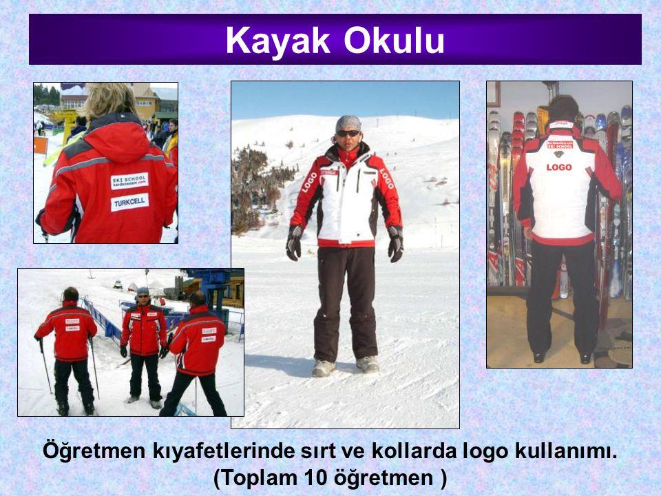 Kayak Okulu Öğretmen kıyafetlerinde sırt ve kollarda logo kullanımı. (Toplam 10 öğretmen )