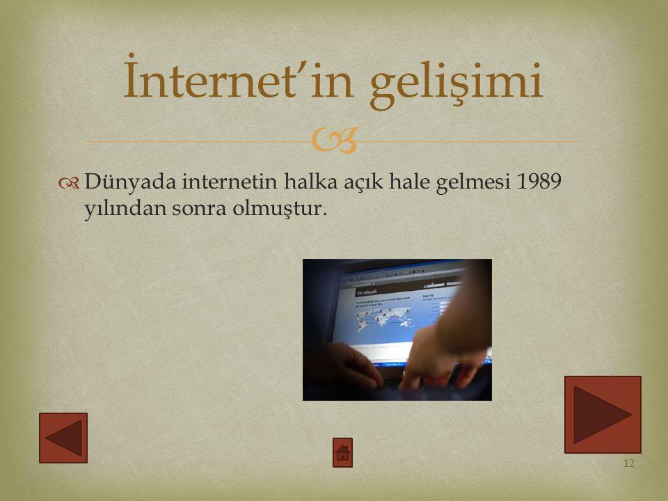 İnternet'in gelişimi Dünyada internetin halka açık hale gelmesi 1989 yılından sonra olmuştur.