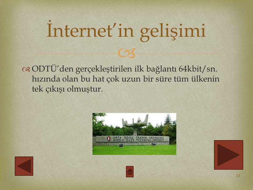İnternet'in gelişimi ODTÜ'den gerçekleştirilen ilk bağlantı 64kbit/sn.