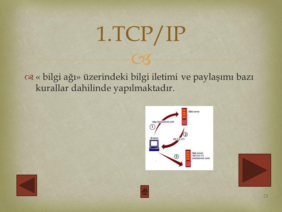 1.TCP/IP « bilgi ağı» üzerindeki bilgi iletimi ve paylaşımı bazı kurallar dahilinde yapılmaktadır.