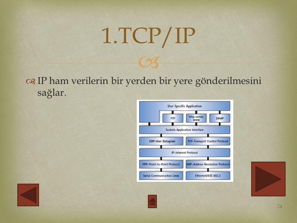 1.TCP/IP IP ham verilerin bir yerden bir yere gönderilmesini sağlar.