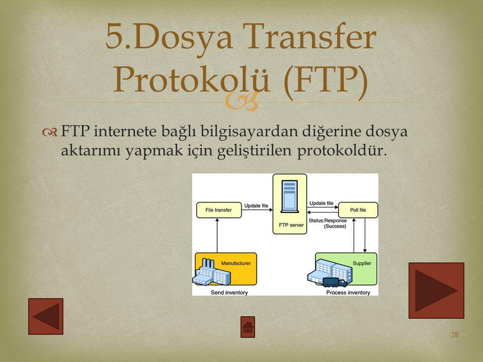 5.Dosya Transfer Protokolü (FTP)