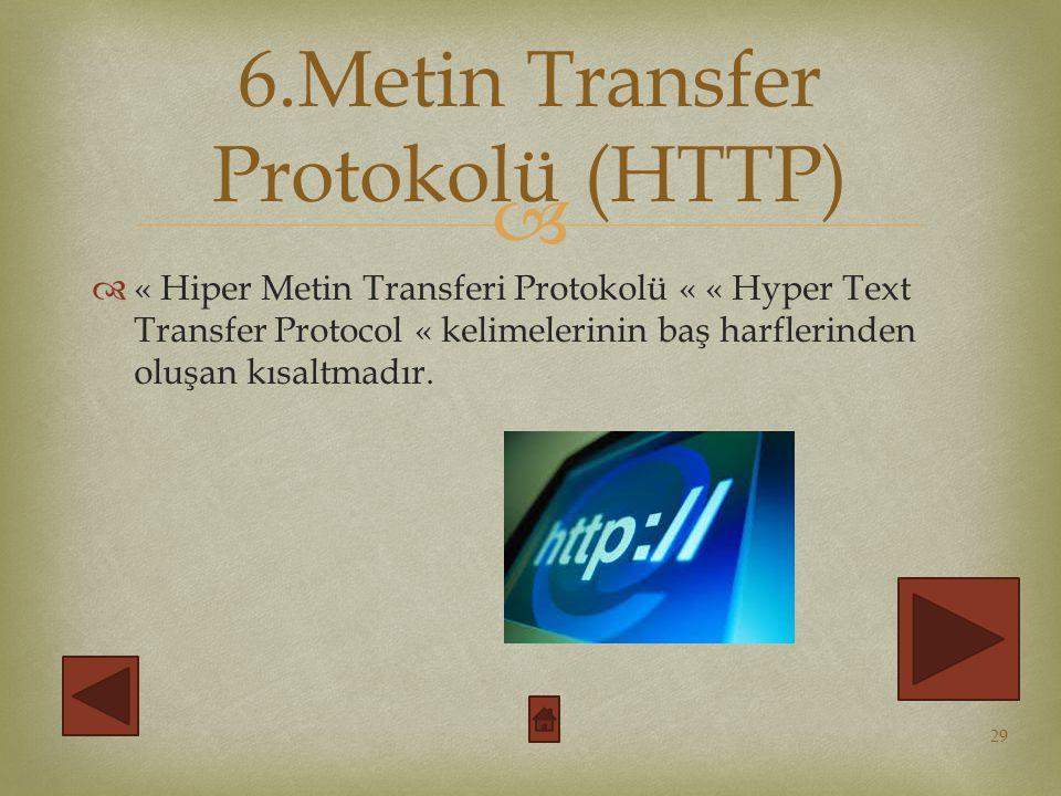 6.Metin Transfer Protokolü (HTTP)