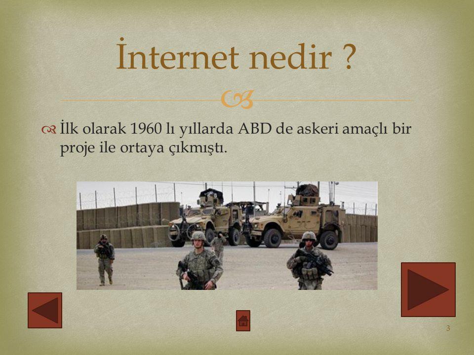 İnternet nedir İlk olarak 1960 lı yıllarda ABD de askeri amaçlı bir proje ile ortaya çıkmıştı.