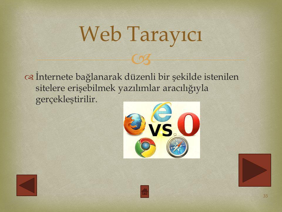 Web Tarayıcı İnternete bağlanarak düzenli bir şekilde istenilen sitelere erişebilmek yazılımlar aracılığıyla gerçekleştirilir.