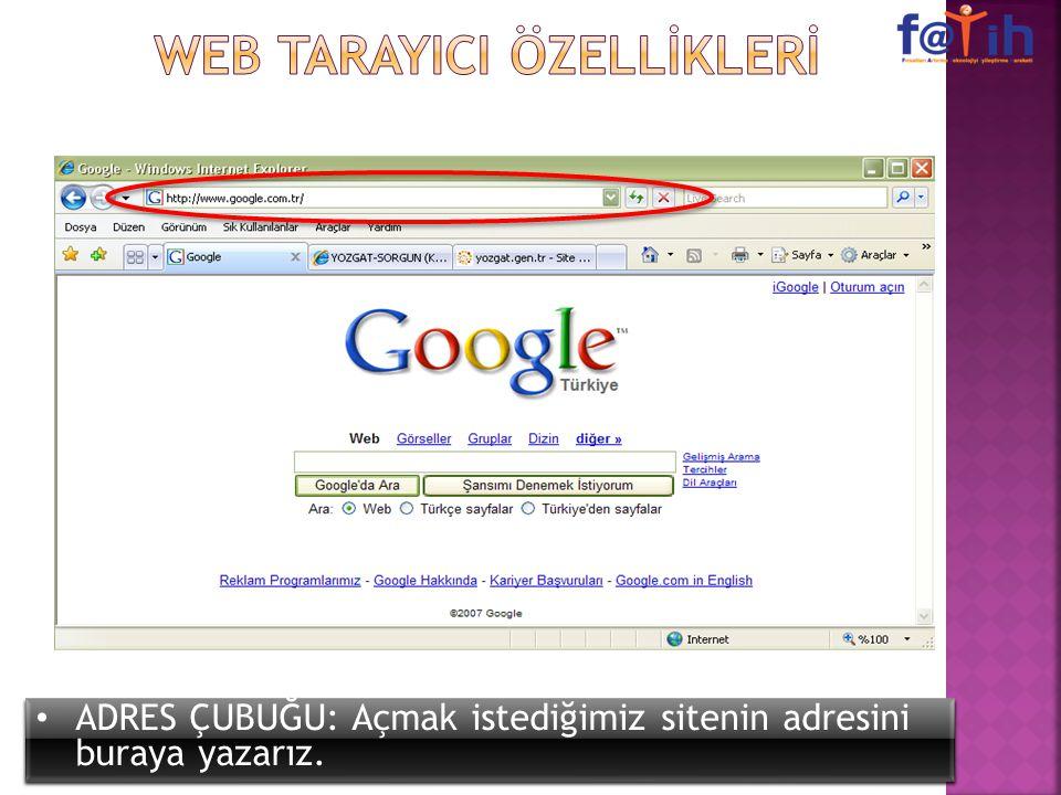WEB TARAYICI ÖZELLİKLERİ