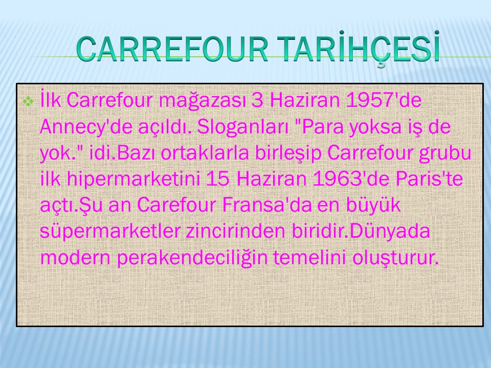 CARREFOUR TARİHÇESİ