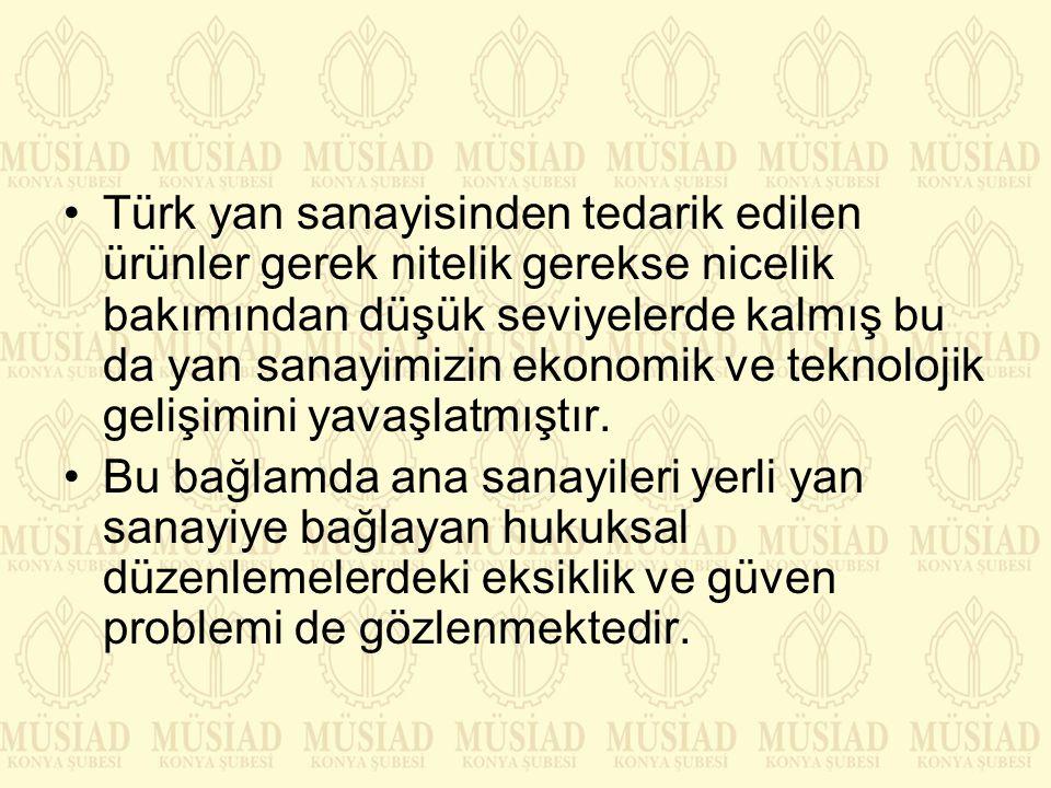 Türk yan sanayisinden tedarik edilen ürünler gerek nitelik gerekse nicelik bakımından düşük seviyelerde kalmış bu da yan sanayimizin ekonomik ve teknolojik gelişimini yavaşlatmıştır.