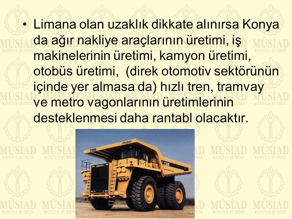 Limana olan uzaklık dikkate alınırsa Konya da ağır nakliye araçlarının üretimi, iş makinelerinin üretimi, kamyon üretimi, otobüs üretimi, (direk otomotiv sektörünün içinde yer almasa da) hızlı tren, tramvay ve metro vagonlarının üretimlerinin desteklenmesi daha rantabl olacaktır.