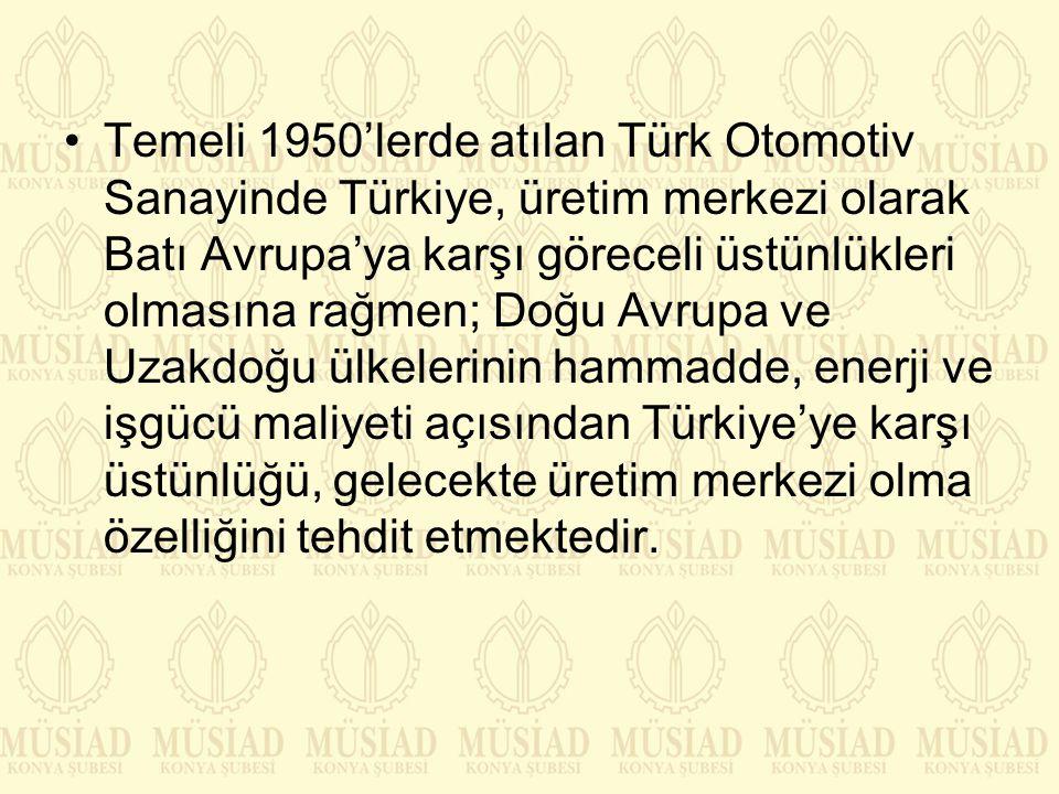 Temeli 1950'lerde atılan Türk Otomotiv Sanayinde Türkiye, üretim merkezi olarak Batı Avrupa'ya karşı göreceli üstünlükleri olmasına rağmen; Doğu Avrupa ve Uzakdoğu ülkelerinin hammadde, enerji ve işgücü maliyeti açısından Türkiye'ye karşı üstünlüğü, gelecekte üretim merkezi olma özelliğini tehdit etmektedir.