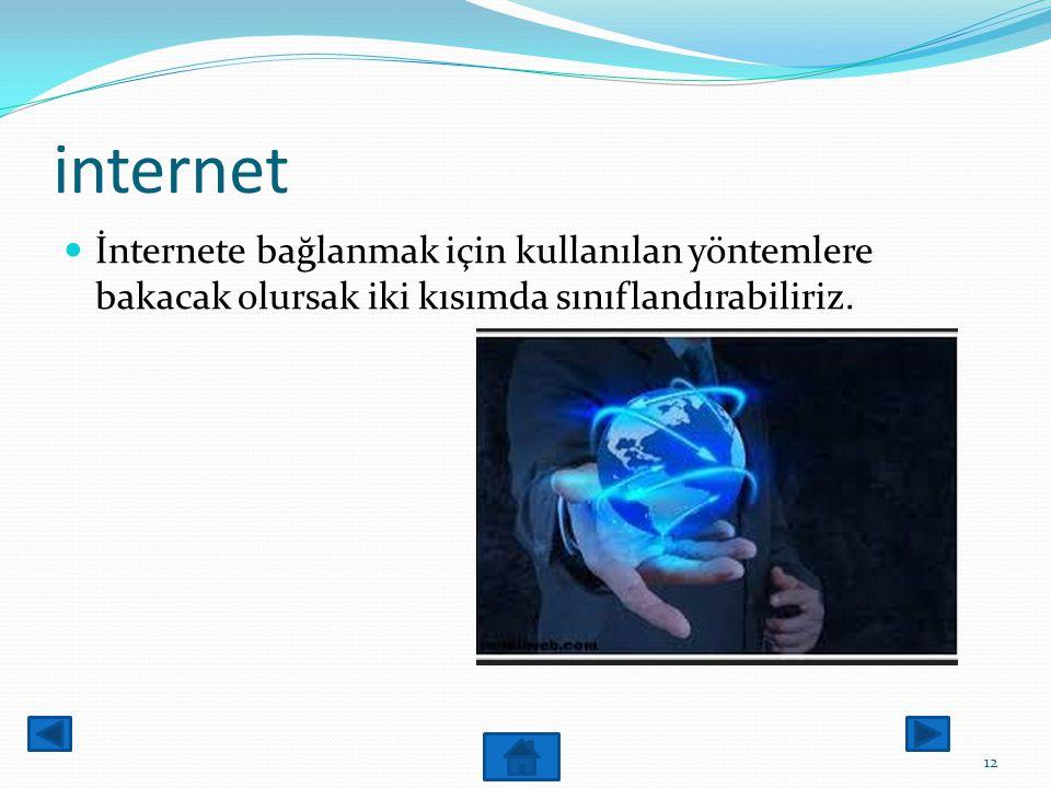 internet İnternete bağlanmak için kullanılan yöntemlere bakacak olursak iki kısımda sınıflandırabiliriz.
