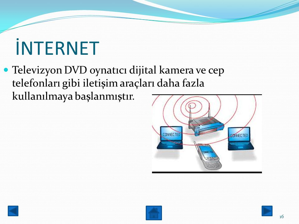 İNTERNET Televizyon DVD oynatıcı dijital kamera ve cep telefonları gibi iletişim araçları daha fazla kullanılmaya başlanmıştır.