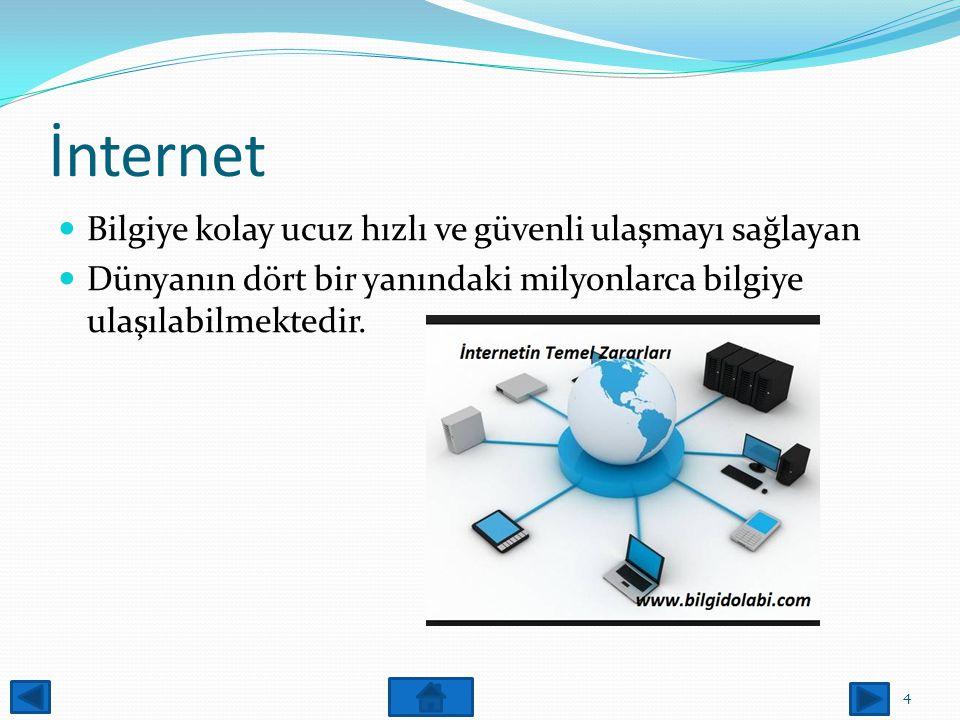 İnternet Bilgiye kolay ucuz hızlı ve güvenli ulaşmayı sağlayan