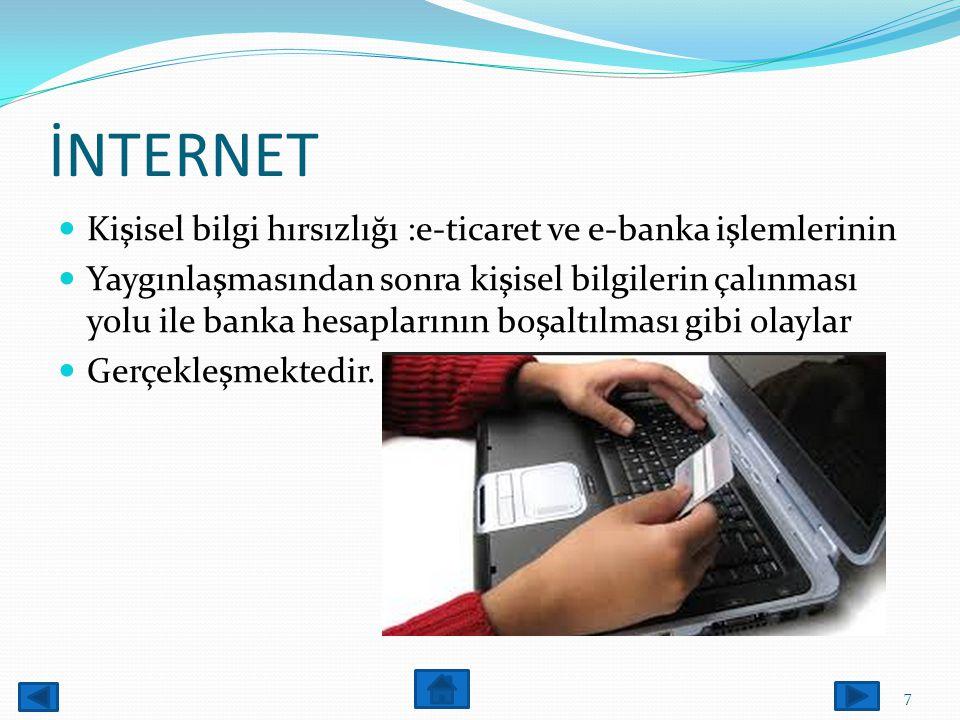 İNTERNET Kişisel bilgi hırsızlığı :e-ticaret ve e-banka işlemlerinin