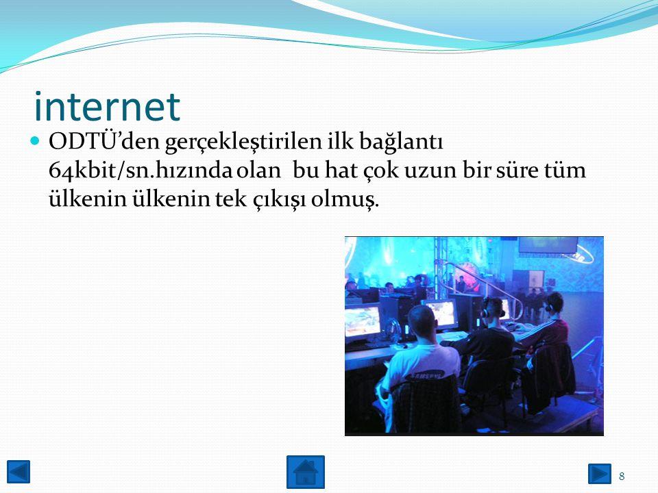 internet ODTÜ'den gerçekleştirilen ilk bağlantı 64kbit/sn.hızında olan bu hat çok uzun bir süre tüm ülkenin ülkenin tek çıkışı olmuş.