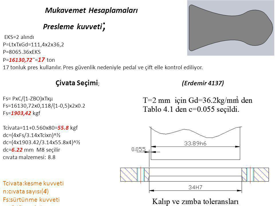 Mukavemet Hesaplamaları Presleme kuvveti; EKS=2 alındı P=LtxTxGd=111,4x2x36,2 P=8065.36xEKS P=16130,72˜=17 ton 17 tonluk pres kullanılır.