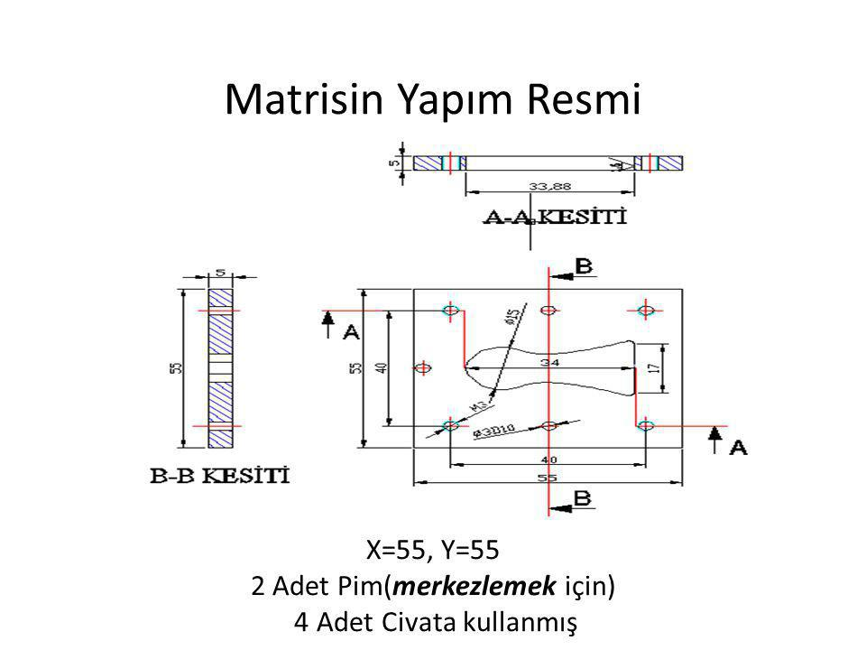 Matrisin Yapım Resmi X=55, Y=55 2 Adet Pim(merkezlemek için) 4 Adet Civata kullanmış