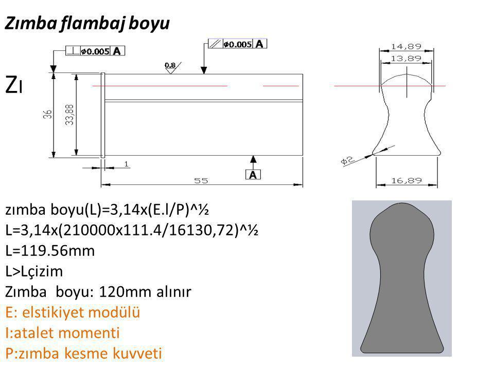 Zımba flambaj boyu Zımba Yapım Resmi zımba boyu(L)=3,14x(E