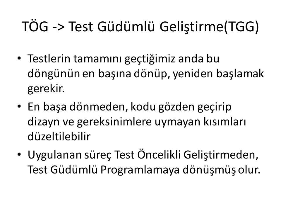 TÖG -> Test Güdümlü Geliştirme(TGG)