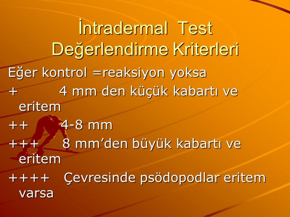 İntradermal Test Değerlendirme Kriterleri