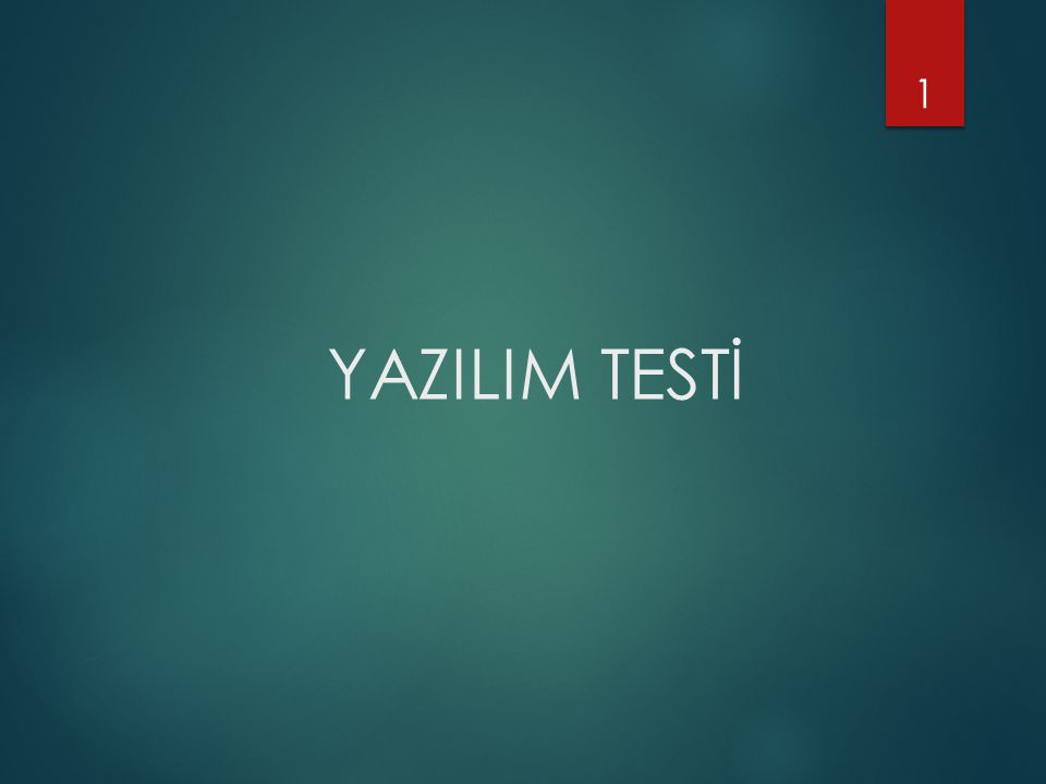 YAZILIM TESTİ