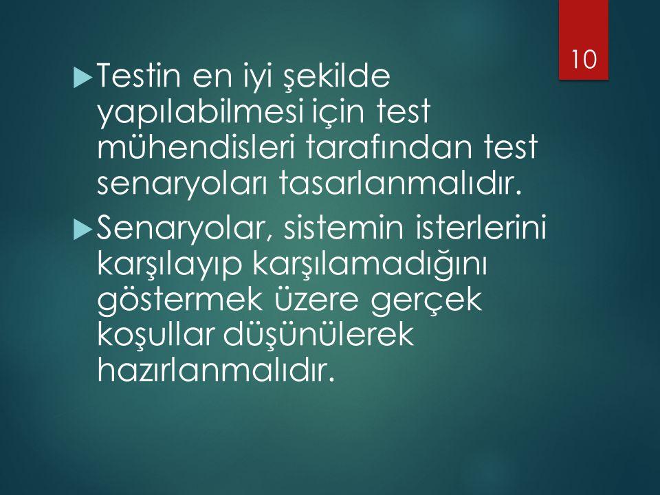 Testin en iyi şekilde yapılabilmesi için test mühendisleri tarafından test senaryoları tasarlanmalıdır.