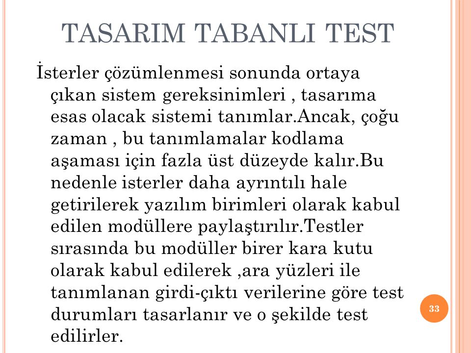 TASARIM TABANLI TEST