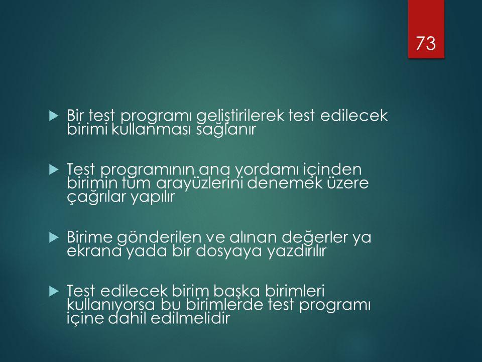 Bir test programı geliştirilerek test edilecek birimi kullanması sağlanır
