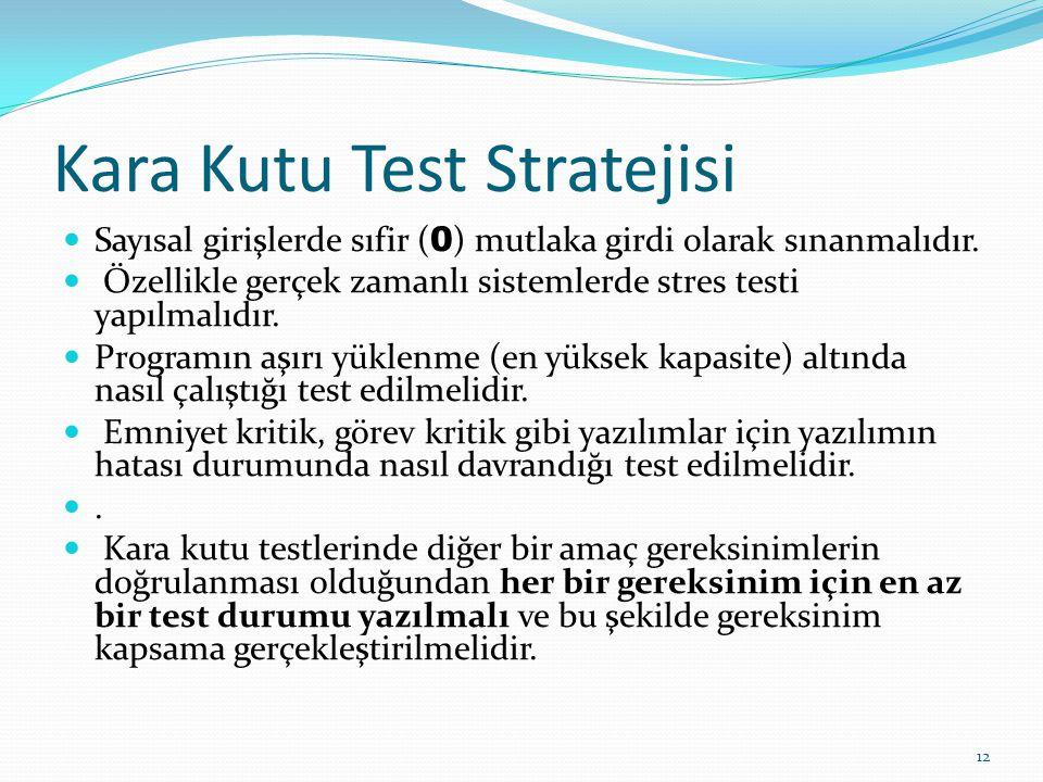 Kara Kutu Test Stratejisi