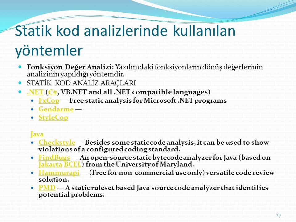 Statik kod analizlerinde kullanılan yöntemler
