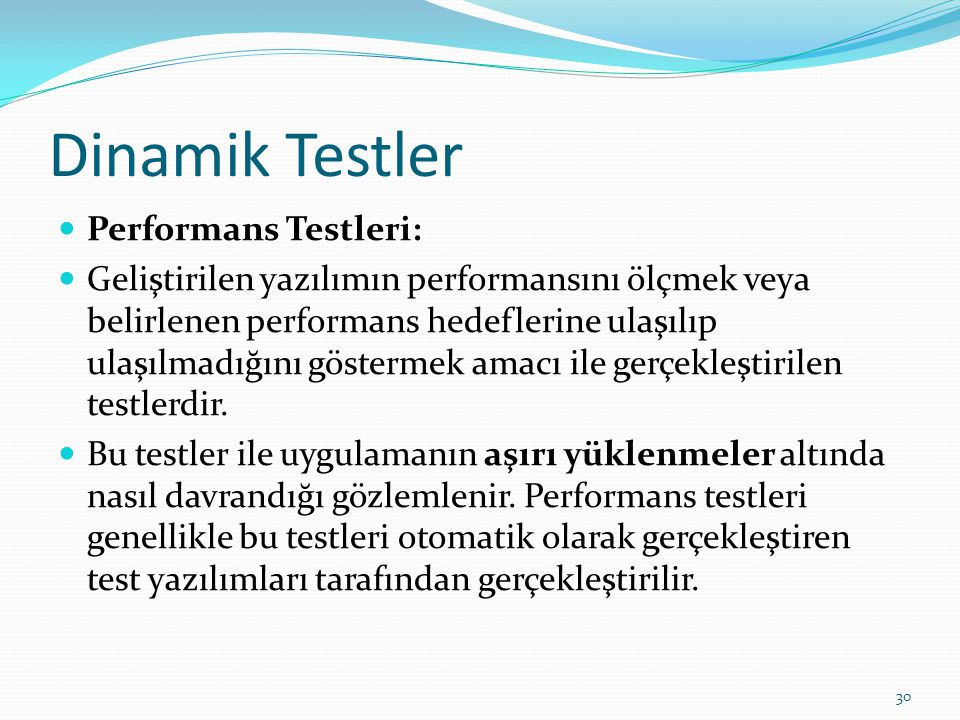 Dinamik Testler Performans Testleri: