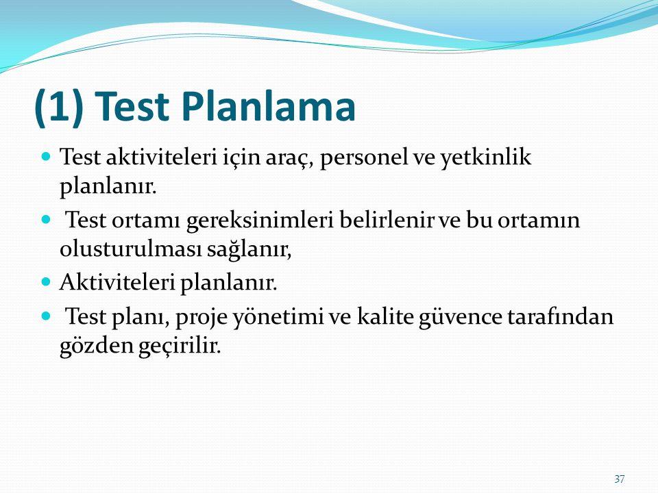 (1) Test Planlama Test aktiviteleri için araç, personel ve yetkinlik planlanır.