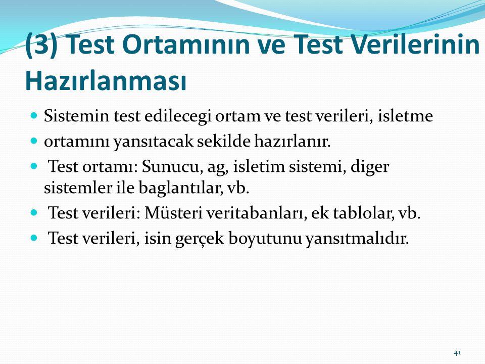(3) Test Ortamının ve Test Verilerinin Hazırlanması