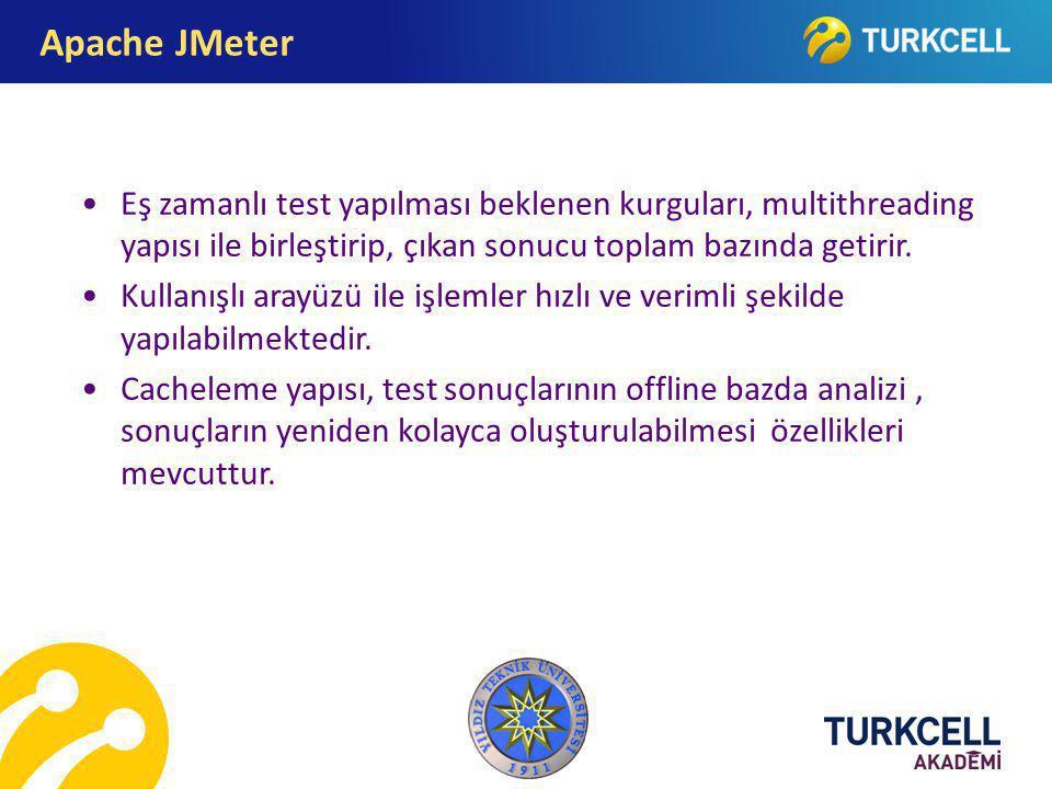 Apache JMeter Eş zamanlı test yapılması beklenen kurguları, multithreading yapısı ile birleştirip, çıkan sonucu toplam bazında getirir.