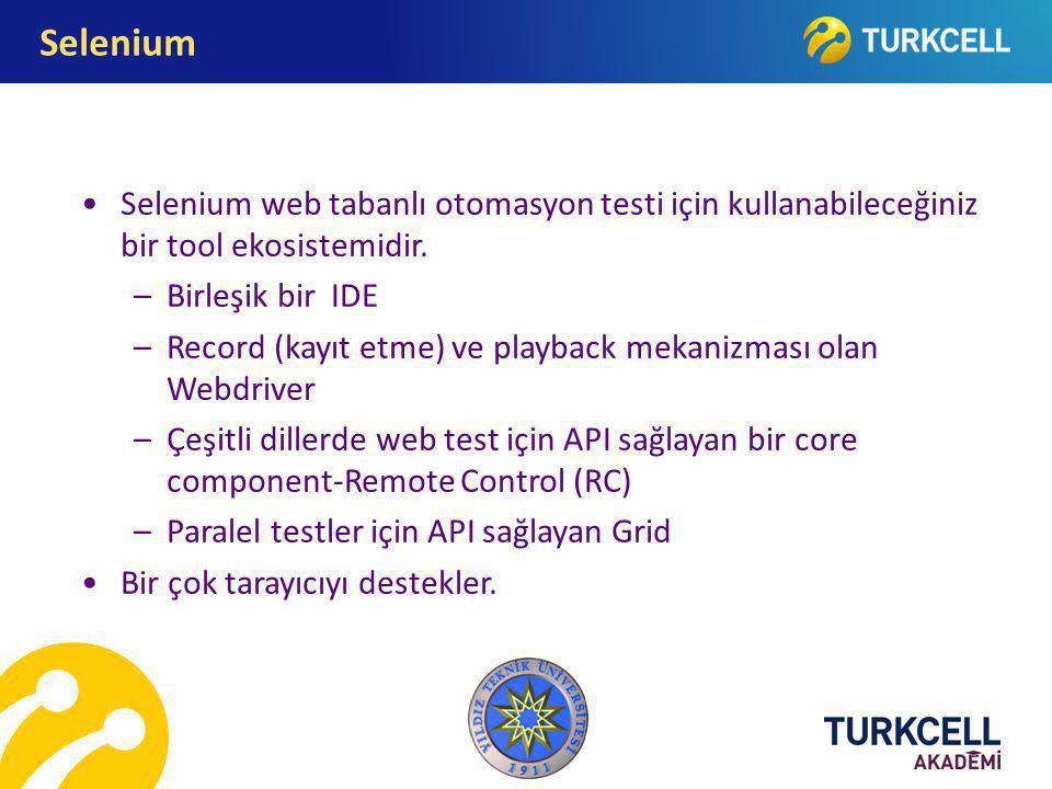 Selenium Selenium web tabanlı otomasyon testi için kullanabileceğiniz bir tool ekosistemidir. Birleşik bir IDE.
