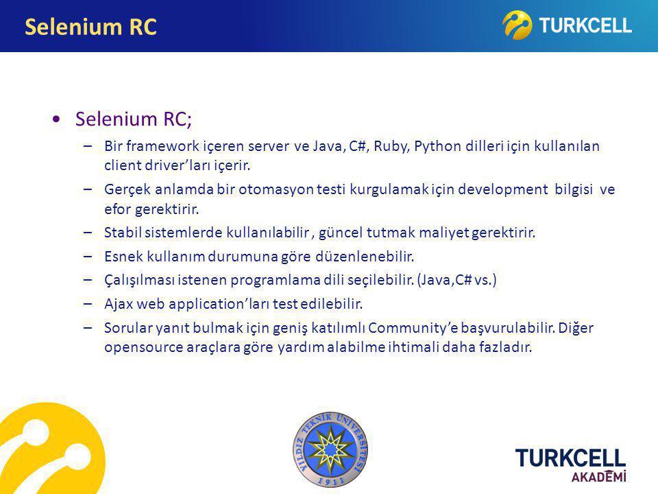Selenium RC Selenium RC;