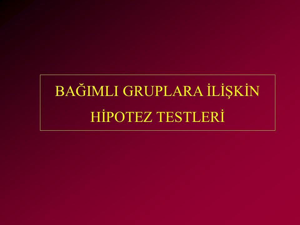 BAĞIMLI GRUPLARA İLİŞKİN HİPOTEZ TESTLERİ