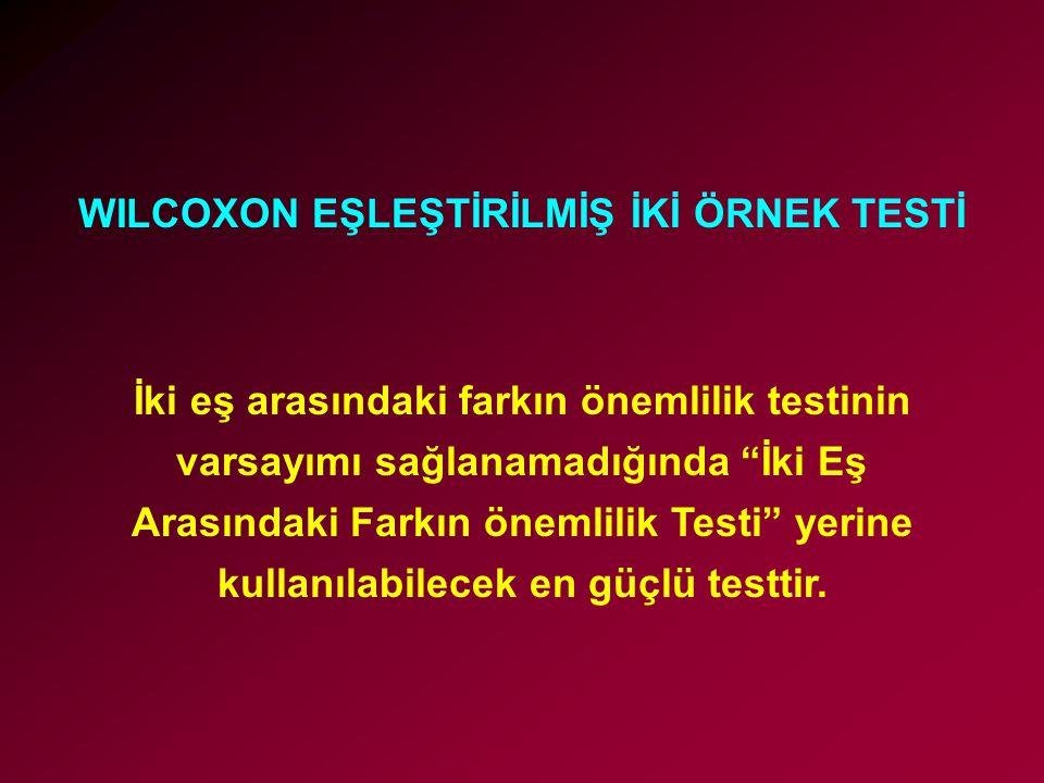 WILCOXON EŞLEŞTİRİLMİŞ İKİ ÖRNEK TESTİ