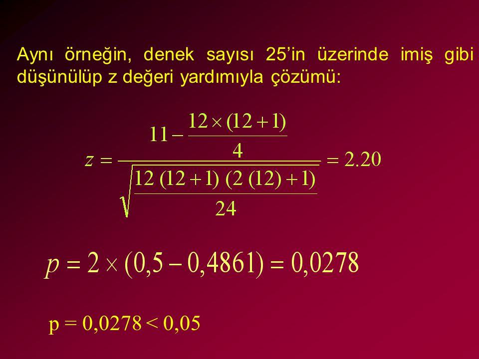 Aynı örneğin, denek sayısı 25'in üzerinde imiş gibi düşünülüp z değeri yardımıyla çözümü: