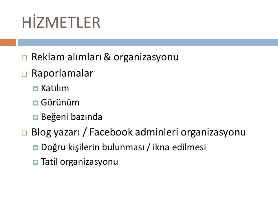 HİZMETLER Reklam alımları & organizasyonu Raporlamalar