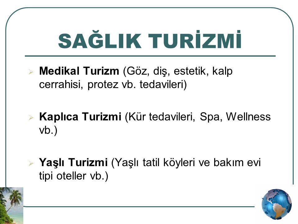 SAĞLIK TURİZMİ Medikal Turizm (Göz, diş, estetik, kalp cerrahisi, protez vb. tedavileri) Kaplıca Turizmi (Kür tedavileri, Spa, Wellness vb.)