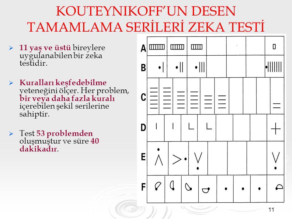 KOUTEYNIKOFF'UN DESEN TAMAMLAMA SERİLERİ ZEKA TESTİ