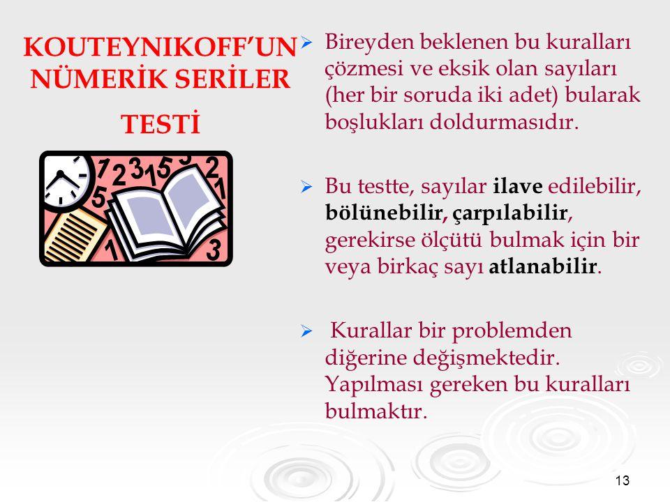 KOUTEYNIKOFF'UN NÜMERİK SERİLER TESTİ