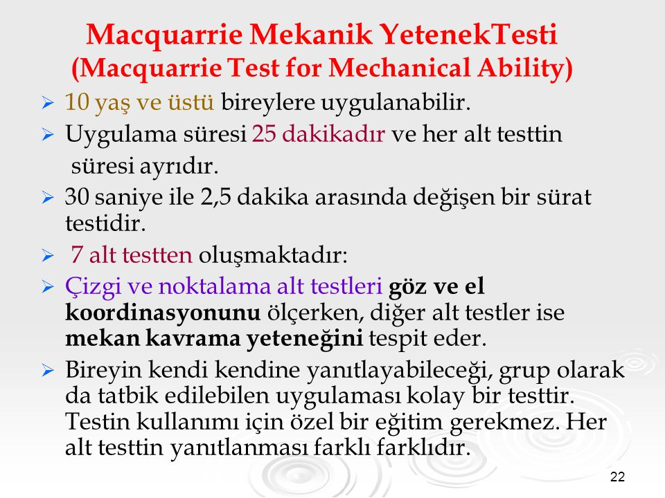 Macquarrie Mekanik YetenekTesti (Macquarrie Test for Mechanical Ability)